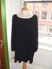 Baylis & Knight BLACK Jersey Angel SHEER Sleeve SMOCK TUNIC Dress Flattering