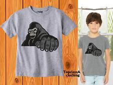 Kids T shirts Gorilla king Muscle Sports Animal Zoo Park Children Child Rock Tee