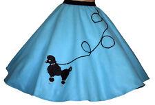 """5 Pc Adult Aqua Blue 50's Poodle Skirt Outfit Sz Large Waist 35""""-42"""" Length 25"""""""
