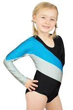 """Kinder Gymnastikanzug Sportbody """"Paula"""" schwarz-türkis-silber Trikot Body shiny"""