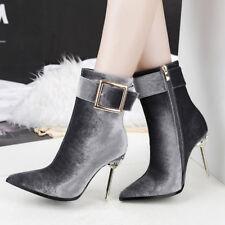 stivali stivaletti bassi stiletto 11 cm caviglia grigi eleganti simil pelle 9547