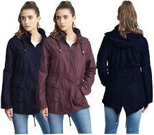 New Ladies Fishtail Waterproof Mac Raincoat Hooded Parka Coat Jacket 8-16