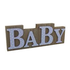 BABY petit Cheri wooden mantel plaque block - Pink or Blue CG1176