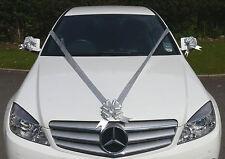 SILVER Wedding Car Decoration Kit Large Bows & 7m Ribbon FAST & FREEPOST