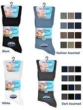 3 Mens Non Elastic 100% Cotton Loose Wider Top Socks UK 6-11
