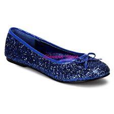 Sexy BALLERINE GLITTER tacco flat dal 35 al 42 BLU fiocchetto scarpe GLAMOUR