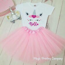 Jeder Name Einhorn Valentinstag Geburtstag Outfit Kleid Tutu Stirnband Mädchen pink