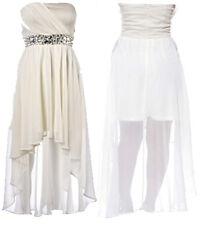 NEW LADIES PLUS SIZE CREAM JEWEL STONE STRAPLESS DROP BACK WAIST HEM DRESS 16-26