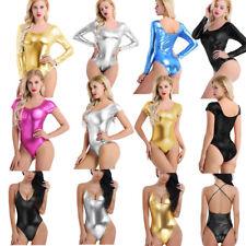 Women Shiny Leather Ballet Dance Gymnastics Leotard Bodycon Monokini Swimwear