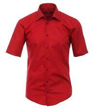 Venti Camisa UNI rojo manga corta Slim Fit Entallado Cuello KENT 100% más fina