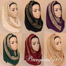 Women's Lace Chiffon Silk Gold Bead Scarf Plain Hijab Muslim Pearl Scarve Shawls