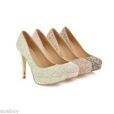 Women's High Heels Round Toe Shoes Glitter Platform Party Pumps UK Sz 1.5~8 D512