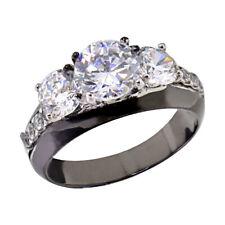 Black Stainless Steel Three-Stone Round Cubic Zirconia Wedding Ring sz 5-10