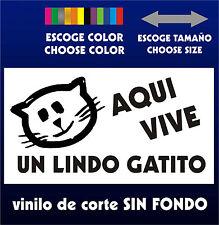 Sticker Vinilo - AQUI VIVE UN LINDO GATITO - PEGATINA - Vinyl - Mascota - Gato