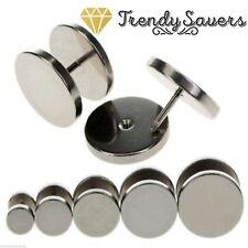 2Pcs Men's Women Silver Barbell Punk Gothic Stainless Steel Ear Studs Earrings
