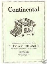 CONTINENTAL MAACCHINA DA SCRIVERE LEVI MILANO VIA MONTENAPOLEONE 1926