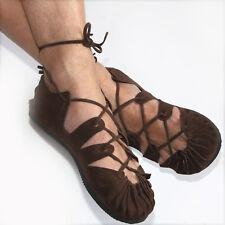 Bundschuhe Leder Braun Schuhe Sandalen Larp Mittelalter Wikinger Reenactment Goa