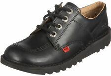 Kickers Kick Lo Black Leather Kids School Shoes