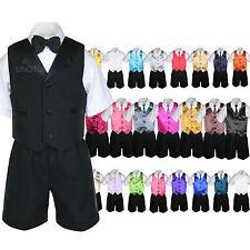 Baby Boy Toddler Formal Vest Shorts Black 6pc Suit Vest Necktie Color Pick S-4T