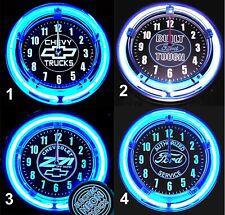 "CHEVY TRUCKS, FORD TRUCKS, FORD SERVICE & Z71 LOGO 11"" Blue Neon Wall Clocks"
