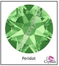 PERIDOT Green HOTFIX Swarovski Flatback Crystal 6ss 8ss 10ss 12ss 16ss 20ss 30ss