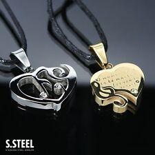 doppio cuore2 Acciaio-Stainless Steel-Coppia Ciondoli collana uomo+donna SS/35