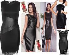 Womens Ladies Celebs Wetlook PVC Bodycon Black PU Insert Shortmini Dress 8-14