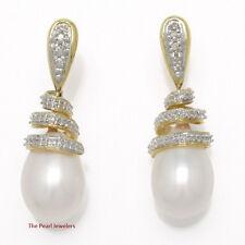 14k Yellow Solid Gold 6 Sparkling Diamonds; White Pearl Dangle Stud Earrings TPJ