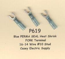 20 Blue PERMA SEAL Heat Shrink SPADE Terminal Connector 16-14 Wire #10 Std MOLEX
