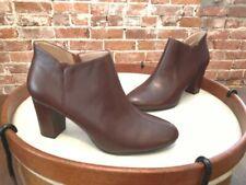 H by Halston Dark Brown Leather Anna Heel Ankle Boot Bootie NEW