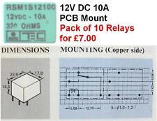 RELAY 12V 10A,PCB MOUNT,C/O,NON LATCH,RSM1S12100, Pk10