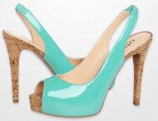 $90 Guess Aero Mint/Light Green Coral/Orange Peep-Toe Slingbacks Cork Heel