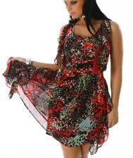 Sexy Donna Chiffon trendy MINI ABITO VOLANT DRESS COLORATO ROSSO VERDE 34 XS Nuovo Top