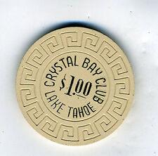 Old One Dollar Poker Chip Crystal Bay Club Lake Tahoe