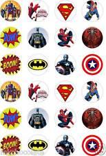 "30 x 1,5 /""superhéroe logotipos Comestibles Glaseado Copa cake//fairy Cake Toppers"