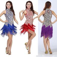 New Women Latin Dance Dress Salsa Samba Tango Cha Cha Tassel Sequins Costume H55
