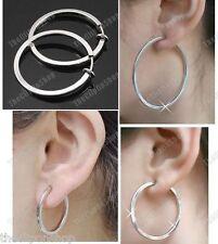 """CLIP ON 2.5cm/3.5cm/5cm SILVER TONE hoops BIG HOOP EARRINGS 1""""/2"""""""