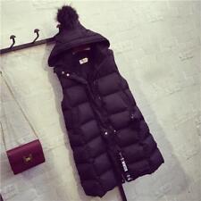 Warm Plus Size Long Vest Coats Women Loose Hooded Sleeveless Down Coats Winter