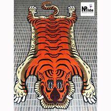 Silk Tibetan Tiger Skin Rug Carpet 3 different sizes Handmade Nepal Dark Orange