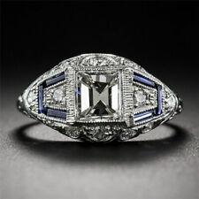 Vintage 925 Silver White Topaz Sapphire Engagement Wedding Rings Wholesale 6-10