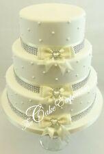 WEDDING CAKE DECORATION DIAMANTE RIBBON LOVE HEART BOW & DIAMANTE TRIM TOPPER