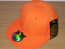 Marca Llano Nuevo equipado Cap Hat Flat Pico Gorra de béisbol Naranja Retro Vintage Flex