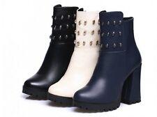 botas zapatos beige azul negro talón 10 cm como piel cómodo 8864