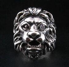 DIAMOND EYE LION HEAD HEAVY 925 STERLING SILVER RING MEN BIKER LEO MOTORCYCLE