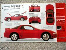 1991 MITSUBISHI 3000GT/3000 GT SPEC SHEET/Brochure/