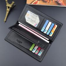 Men's Leather Wallet Bifold ID Card Holder Long Clutch Billfold Money Purse