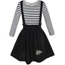 2 Pieces Set Girls Dress T-shirt Suspender Skirt School Uniform Size 4-12