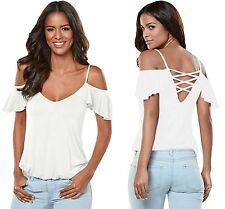 Women Cold Shoulder Top Blouse White Crisscross Back Ruffle Summer 8 10 12 14 16