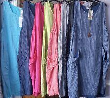 ITALIAN LAGENLOOK STRIPE DESIGN SUMMER SUN COTTON QUIRKY BOHO LONG POCKET DRESS