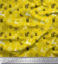 Soimoi Fabric Reindeer,Gift Box & Baubles Christmas Decor Fabric  BTY - XM-564H